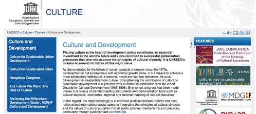 Web Unesco - Cultura i Desenvolupament
